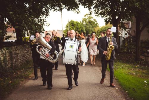 bride-groom-guests-band